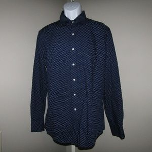 Tommy Hilfiger White Blue Dot Shirt Sz 16 1/2
